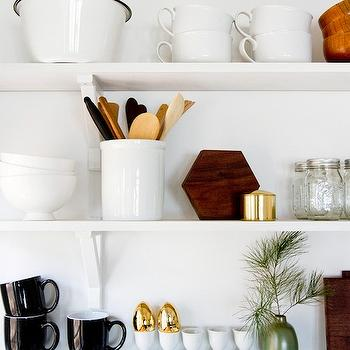 Smitten Studio - kitchens - kitchen shelving, white shelving, white kitchen shelving, stacked shelving, gold accents, gold kitchen accents,