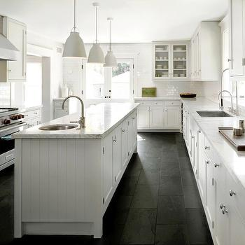 Statuario Marble Countertops, Contemporary, kitchen, Farrow & Ball Blackened, DCM Designs
