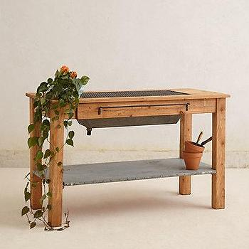 Tables - Reclaimed Potting Table I Anthropologie.com - potting table, reclaimed wood potting table, timber potting table,