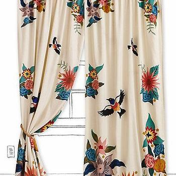 Window Treatments - Soaring Starlings Curtain I Anthropologie.com - bird and flower curtains, birds and flowers drapes, multi-colored floral drapes with birds,