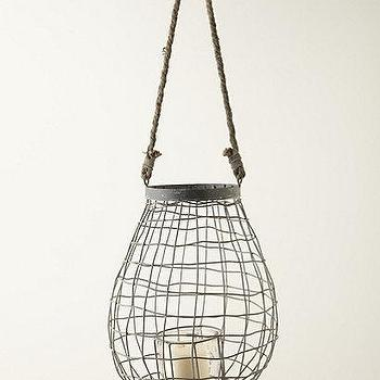 Decor/Accessories - Steel Cocoon Lantern I Anthropologie.com - steel lantern, steel wrapped lantern, steel lantern with rope handle,