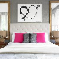 Emily Followill Photography - bedrooms - gray wallpaper, damask wallpaper, gray damask wallpaper, heart art print, off white headboard, off white tufted headboard, hot pink pillows, black pillow, gilded mirrors, mirror over nightstand, vintage nightstand,