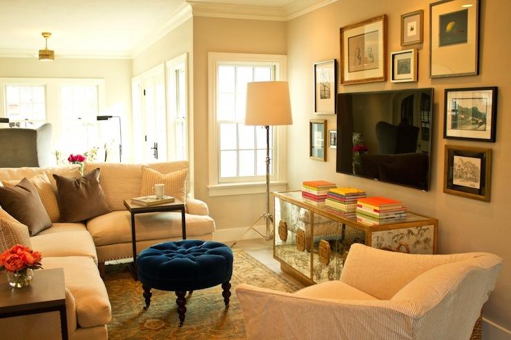 How to hide tv transitional living room lauren for Hide tv in living room