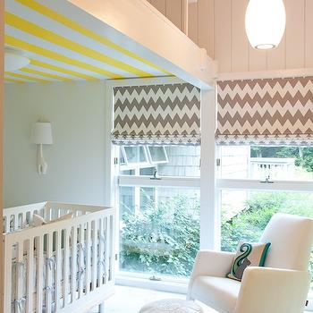 D2 Interieurs - nurseries - 2 story nursery, two story nursery, yellow and gray nursery, yellow and gray nursery design, white and yellow striped ceiling, striped ceiling, painted ceiling, white nursery crib, white and blue crib bedding, chevron roman shades, chevron window treatments, white and gray chevron roman shade, white and gray roman shade, modern white glider, white rocker, modern rocker, modern nursery rocker, white moroccan ottoman, squirrel pillow, teal squirrel pillow,