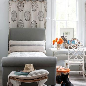 Twin Gray Bed, Eclectic, boy's room, BHG