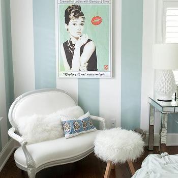 Furbish Studio - girl's rooms: tween room, tween bedroom, tween girls room, tween girls bedroom, striped walls, white and blue striped walls, audrey hepburn, french settee, mini settee, mini french settee, shag pillow, white shag pillow, shag lumbar pillow, shag stools, white shag stool, shag ottoman, white shag ottoman, sheepskin stool, white sheepskin stool, sheepskin ottoman, white sheepskin ottoman,
