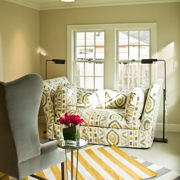 Yellow and Gray Living Room, Contemporary, living room, Lauren Haskett Fine Design