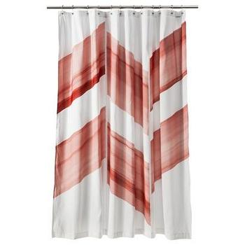 Bath - Nate Berkus Color Block Shower Curtain - Chilli I Target - red and white color block shower curtain, nate berkus shower curtain, modern red and white shower curtain,