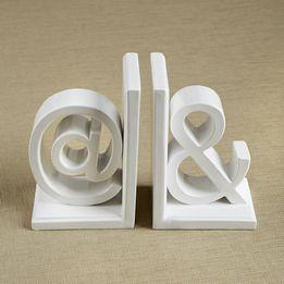 Decor/Accessories - Book Ends I The Ivory Company - white bookends, ampersand and sign bookends, symbol bookends,