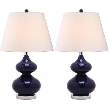 Lighting - Eva Double Gourd Glass Navy 1-light Table Lamps (Set of 2) | Overstock.com - navy double gourd vase, navy gourd vase, modern navy vase,