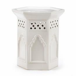 Decor/Accessories - Moroccan Minaret Hex - Garden Stool I The Ivory Company - white garden stool, moroccan garden stool, hexagonal white moroccan garden stool,