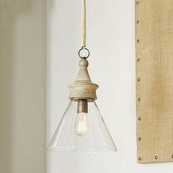 Lighting - Claudia 1-Light Pendant | Ballard Designs - glass pendant, wood and glass pendant, cone shaped glass pendant,