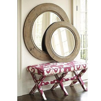 Mirrors - French Farmhouse Mirror | Ballard Designs - round farmhouse mirror, rustic round mirror, rustic wood framed round mirror,