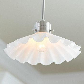 Lighting - Dana 1-Light Pendant | Ballard Designs - white ruffled pendant, ruffled glass shade pendant, ruffled glass pendant,