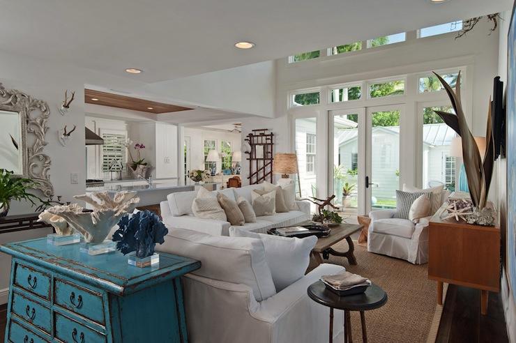 Turquoise Cabinet Cottage Living Room Mhkap