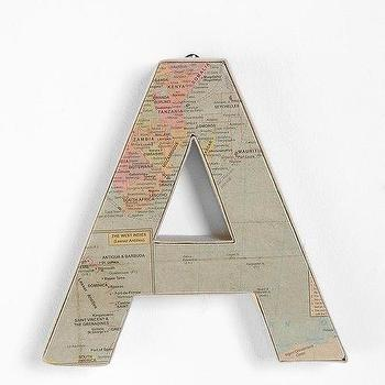 Art/Wall Decor - Around the World Letter I Urban Outfitters - map covered wall letters, map fronted wall letters, map wall letters,