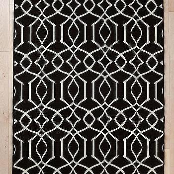 Rugs - Wool Flat Weave Iron Gate Rug I Urban Outfitters - black and white geometric rug, black and white interlocking rug, black and white modern rug,