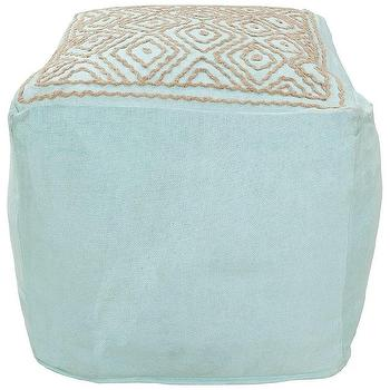 Seating - Surya Amber Blue Pouf I Zinc Door - blue and beige pouf, aqua blue pouf with embroidered top, blue and beige embroidered pouf,
