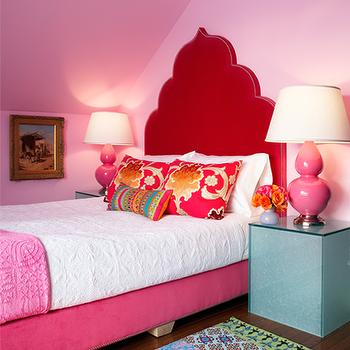 Holly Dyment Interior Design - girl's rooms - pink walls, pink wall color, pink ceiling, bubblegum pink walls, bubblegum pink wall color, bubblegum pink ceiling, hardwood floors, multi-colored rug, multi-colored patterned rug, turquoise cube table, turquoise cube shaped side table, pink table lamp, pink gourd lamp, pink double gourd lamp, pink velvet bed, pink velvet headboard, pink velvet moroccan style headboard, moroccan shaped headboard, pink headboard, pink arched headboard, pink and gold floral pillows, multi-colored striped pillow, white bedding, white coverlet, white matelasse bedding, pink coverlet, pink folded coverlet, white matelasse coverlet, gold framed oil painting, oil painting, vaulted ceiling, pink bedroom, taj mahal headboard, pink taj mahal headboard, pink headboard,