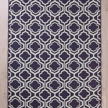 5 X 8 Purple Ivory Lattice Flat Woven Wool Rug World
