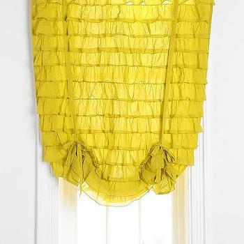 Window Treatments - Waterfall Ruffle Draped Shade Curtain I Urban Outfitters - yellow waterfall draped shade curtain, yellow waterfall shade, yellow ruffled window shade,