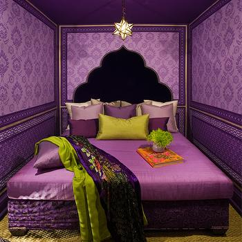 Holly Dyment Interior Design - bedrooms - purple and green bedroom, purple and green moroccan style bedroom, moroccan style bedroom, moroccan style headboard, black moroccan style headboard, black headboard, black upholstered headboard, purple bedding, purple coverlet, purple bed linens, purple pillows, chartreuse pillow, chartreuse green pillow, chartreuse green throw, purple floral throw, green carpet, green wall to wall carpet, purple wallpaper, purple wallpapered walls, purple damask wallpaper, painted ceiling, purple ceiling, star shaped pendant, moravian star pendant, gold trimmed walls, purple bedroom, purple bedroom design, damask wallpaper,