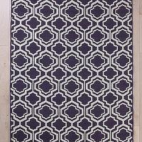Rugs - Wool Flat Weave Quatrefoil Rug I Urban Outfitters - purple and white quatrefoil rug, purple quatrefoil, purple and white geometric rug,