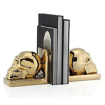 Decor/Accessories - Skull Bookends - Set of 2 | Z Gallerie - gold skull bookends, skull bookends, gold ceramic skull bookends,
