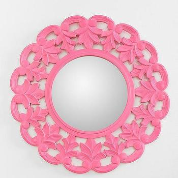 Mirrors - Carved Medallion Wall Mirror I Urban Outfitters - carved pink mirror, round pink mirror, carved medallion pink mirror,