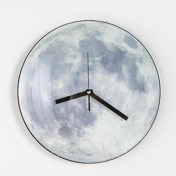 Art/Wall Decor - Glow-In-The-Dark Moon Wall Clock I Urban Outfitters - moon clock, moon wall clock, glow in the dark moon clock, glow in the dark moon wall clock,
