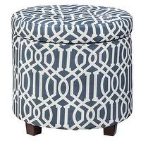 Seating - Threshold Round Tufted Storage Ottoman - Blue I Target - blue and white trellis ottoman, trellis storage ottoman, blue and white trellis patterned storage ottoman,