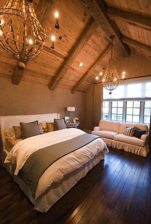 White wingback headboard transitional bedroom Master bedroom ceiling beams