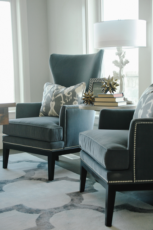 Gray Velvet Wingback Chairs Contemporary Den Library Office Davies Development