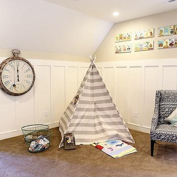 Utah Valley Parade of Homes - boy's rooms - play room, playroom, board and batten, board and batten walls, teepee, striped teepee, white and gray teepee, white and gray striped teepee,