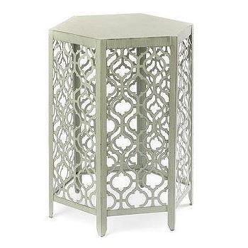 Tables - Pale Green Metal Barrel Accent Table | Kirkland's - green fretwork accent table, fretwork side table, fretwork accent table,