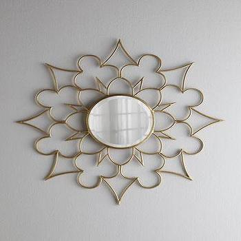 Mirrors - Starburst Clover Mirror I Horchow - gold wall mirror, gold starburst mirror, gold flower shaped mirror,