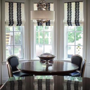 Jennifer Backstein Interiors - kitchens - windows, romans, pattern, light fixture, chandelier, french chairs, navy, vinyl,  Beautiful eating