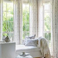 At Home in Arkansas - bedrooms - gray walls, Kravet drapes, white chaise lounge, gray accent pillows, neutral accents,  Melissa Haynes- MH Design