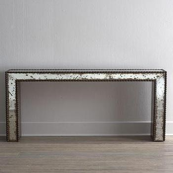 Tables - Ambella Titan Console I Horchow - mirrored console, antiqued mirrored console table, antique mirrored console,