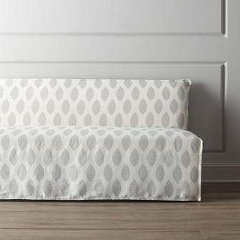 Seating - Lee Industries Casandra Slipcovered Banquette I Horchow - slipcovered banquette, white and gray banquette, banquette seating,
