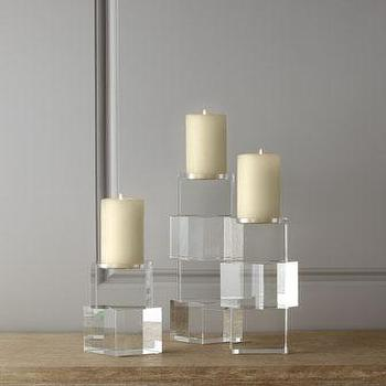 Decor/Accessories - Global Views Escalier Candleholders I Horchow - modern glass candleholders, modern crystal candleholders, stacked square crystal candleholders,