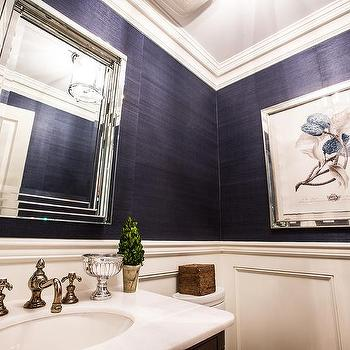 Jennifer Backstein Interiors - bathrooms: Navy, grasscloth, wallpaper, mirror, wainscotting, vanity, decorative accessories,  Beautiful and classic