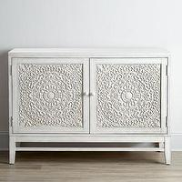 Storage Furniture - Cynthia Console I Horchow - carved white console, white carved front media console, carved wood media console,