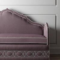 Seating - Haute House Napa Banquette I Horchow - purple upholstered banquette, banquette with nailhead trim, purple banquette with nailhead trim,