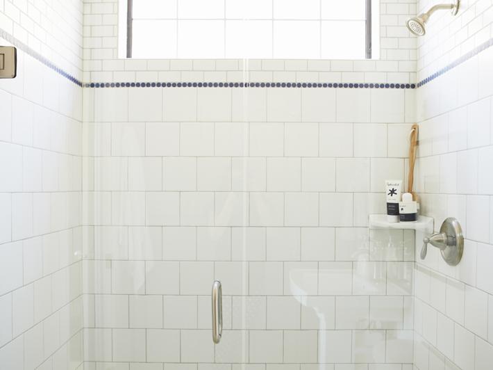 corner shower shelf transitional bathroom alice lane. Black Bedroom Furniture Sets. Home Design Ideas
