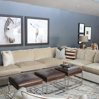 Alice Lane Home - living rooms - blue walls, leather stools, brown leather stools, dark gray velvet pillows, beige sectional, beige sectional sofa, beige pillows, beige and blue rug, velvet sectional, beige velvet sectional, greek key pillow, striped pillow, velvet striped pillow, metallic pillow,