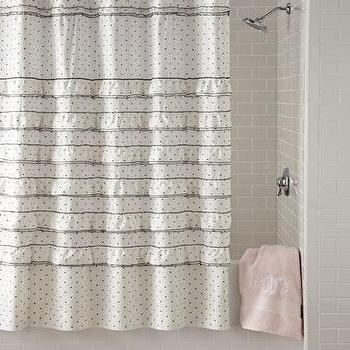 Bath - Blissliving Home Can Can Shower Curtain I Horchow - black and white polka dot shower curtain, black and white polka dot ruffled shower curtain, ruffled polka dot shower curtain,