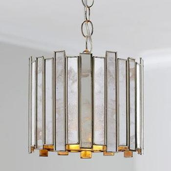 Lighting - Mirrored Slats Mini Pendant I Horchow - mirrored mini pendant, mirrored slats mini pendant, antiqued mirror mini pendant,