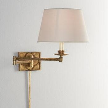 Lighting - VISUAL COMFORT Griffith Swing Arm Lamp I Horchow - swing arm lamp, gilded swing arm lamp, gold swing arm lamp,