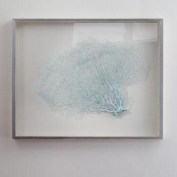 Art/Wall Decor - Karen Robertson Collection Blue Haze Sea Fan I Horchow - seafan art, sea fan art, blue sea fan art, framed sea fan art,